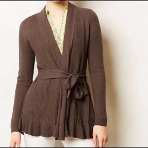 Anthropologie Sparrow Belted Pointelle Cardigan S
